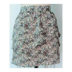 H&M GREEN BLACK DITZY FLORAL TIERED MINI SKIRT 12